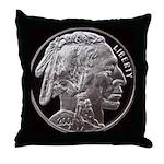 Silver Indian Head Throw Pillow