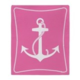 Pink Anchor Throw Blanket