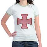 Pink Iron Cross Jr. Ringer T-Shirt