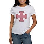 Pink Iron Cross Women's T-Shirt