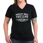 Awesome Mom Women's V-Neck Dark T-Shirt
