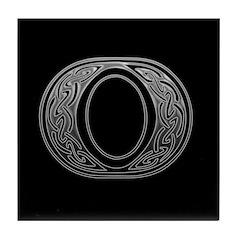 K Monogram Celtic Silver Tile Coaster