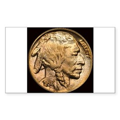 Nickel Indian Head Rectangle Sticker