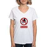 Do not touch sign Women's V-Neck T-Shirt