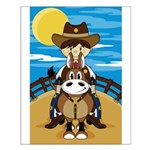 Cute Cowboy Sheriff on Horse Poster (Small)
