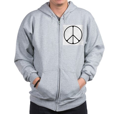 Elegant Peace Sign Men's Zip Hoodie