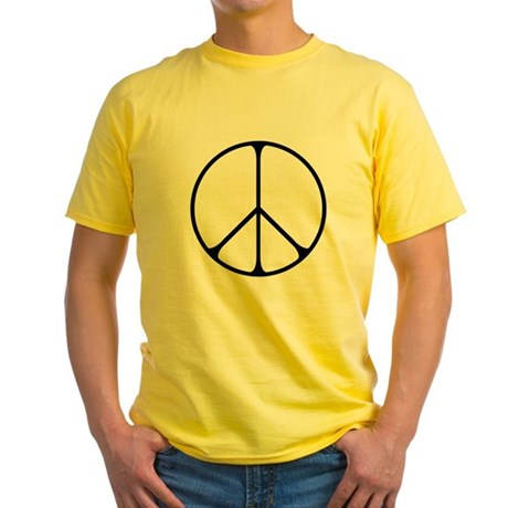 Elegant Peace Sign Men's Yellow T-Shirt