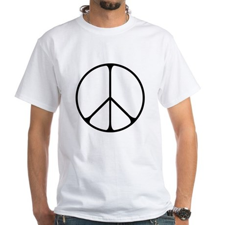 Elegant Peace Sign Men's White T-Shirt
