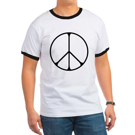 Elegant Peace Sign Men's Ringer Tee