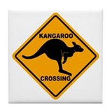 Kangaroo Crossing Sign Tile Coaster
