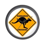 Kangaroo Crossing Sign Wall Clock