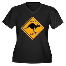 Roo X-ing Sign Women's Plus Size V-Neck Dark T-Shi
