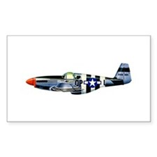 P-51 Mustang Drawing Rectangle Decal