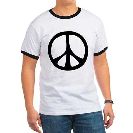 Flowing Peace Sign Men's Ringer Tee