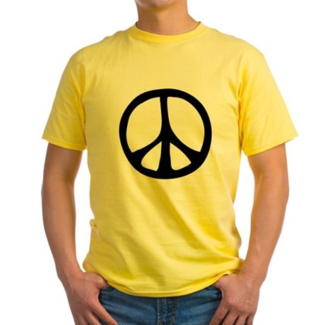Flowing Peace Sign Men's Yellow T-Shirt