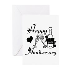Anniversary black and white 1 copy Greeting Cards