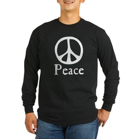Flowing 'Peace' Sign Men's Long Sleeve Dark T-Shirt