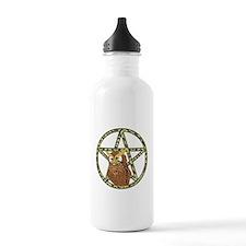 vines Pentagram Owl Water Bottle