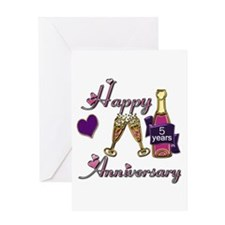 Anniversary pink and purple 5 Greeting Cards