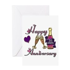 Anniversary pink and purple 35 copy Greeting Cards