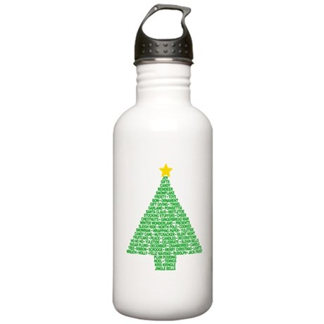 Christmas Tree Words Stainless Water Bottle 1.0L