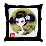 Sakura Girl Throw Pillow