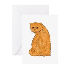 Red Persian Cat Portrait Greeting Cards (Package o