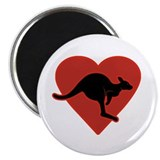 "Kangaroo Love Red Heart 2.25"" Magnet (100 pac"