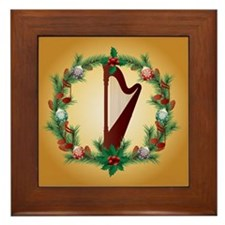 Christmas Harp Music Framed Tile