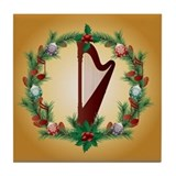 Christmas Harp Music Tile Coaster
