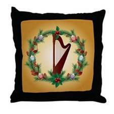 Christmas Harp Music Throw Pillow