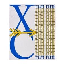 XC Run Royal Blue Gold Throw Blanket