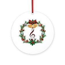 Treble Christmas Music Ornament (Round)