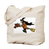 Halloween Witch on Broom Hors Tote Bag