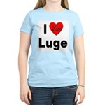 I Love Luge (Front) Women's Pink T-Shirt