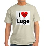 I Love Luge (Front) Ash Grey T-Shirt