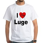 I Love Luge (Front) White T-Shirt