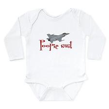 Poopie Suit -red Long Sleeve Infant Bodysuit