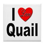 I Love Quail Tile Coaster