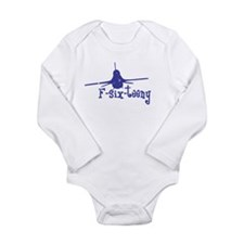 F-six-teeny -blue Long Sleeve Infant Bodysuit