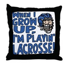 Grow Up Lacrosse Blue Throw Pillow