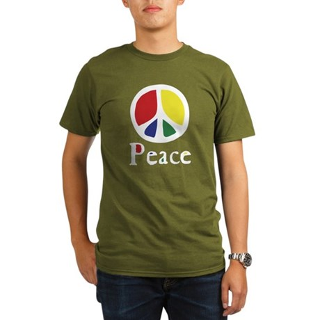Flowing 'Peace' Color Organic Men's Dark T-Shirt
