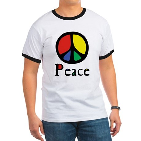 Flowing 'Peace' Color Men's Ringer Tee