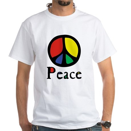 Flowing 'Peace' Color Men's White T-Shirt