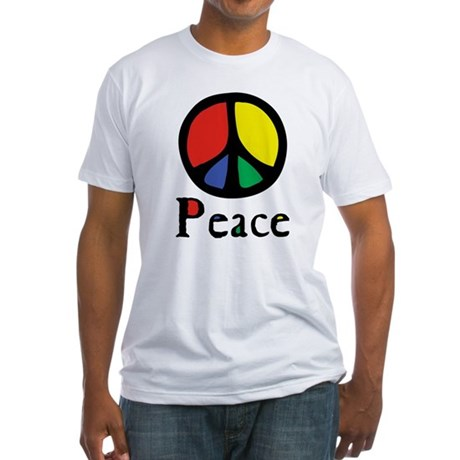 Flowing 'Peace' Color Men's Fitted T-Shirt