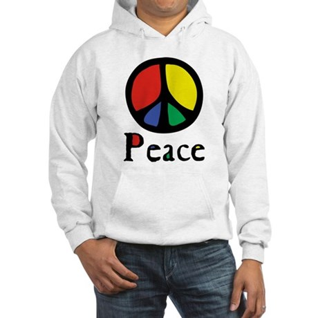 Flowing 'Peace' Color Men's Hooded Sweatshirt