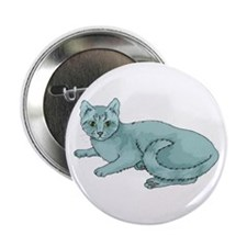 Russian Blue Cat Button