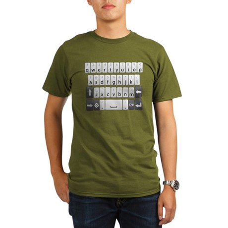 Qwerty Keyboard Organic Men's T-Shirt (dark)