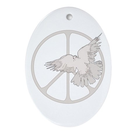 Peace Sign Dove Oval Ornament