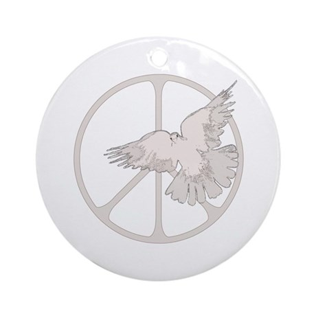 Peace Sign Dove Round Ornament